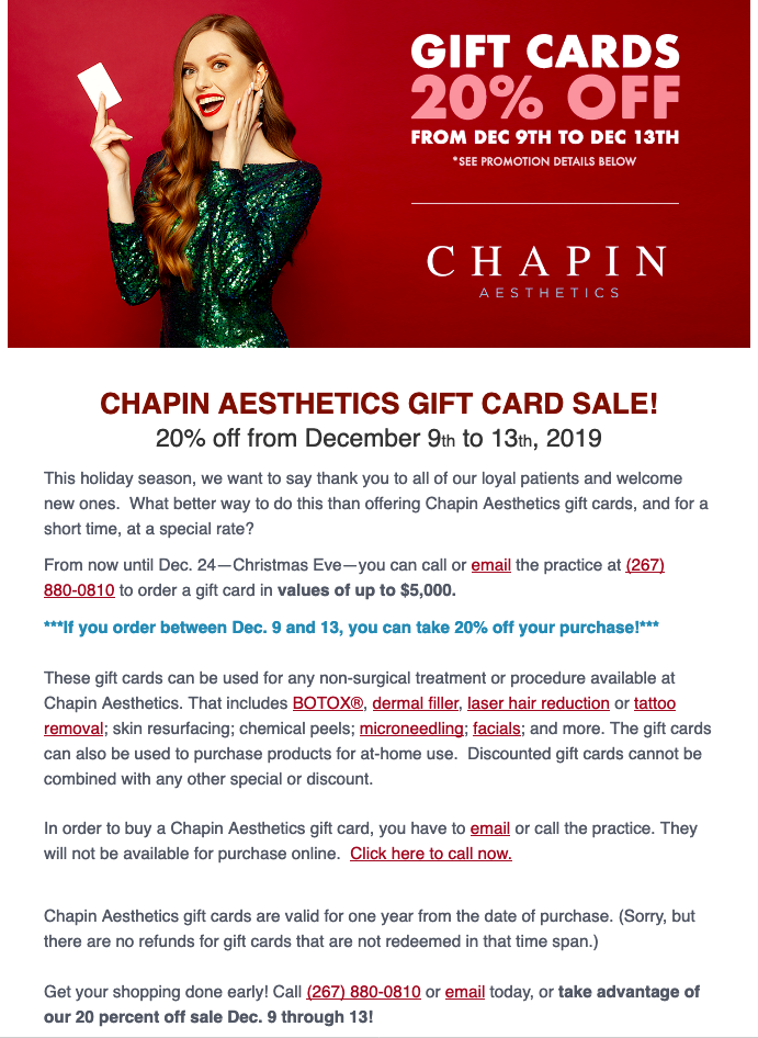 Winter specials at Chapin Aesthetics